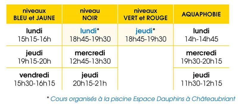 Les cours de natation pour adultes (dès 16 ans) à l'espace aquatique AquaChoisel et à la piscine Espace Dauphins à Châteaubriant